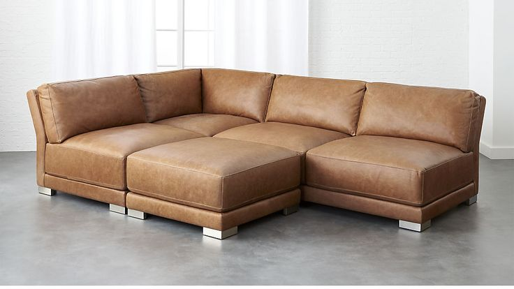 gybson 4-piece brown leather sectional sofa | CB2