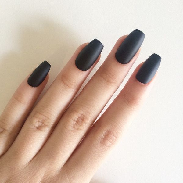 Matte black coffin nails, hand painted acrylic nails, fake nails,... (£14) ❤ liked on Polyvore featuring beauty products, nail care, nail treatments and nails