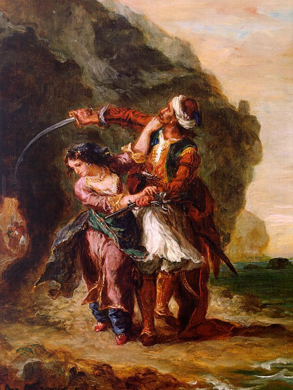 "EUGENE DELACROIX (French):  The Bride of Abydos is a poem written by Lord Byron in 1813. Along with ""exotic"" locations, Romantic painters were inspired by stories from poetry and literature!."