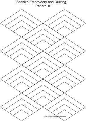 FREE Sashiko Embroidery Patterns - Set 2 WAVES