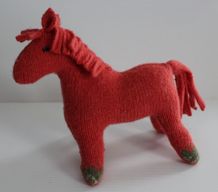Stuffed horse: coral, repurposed wool sweater, plush horse, waldorf horse, horse toy, soft-sculpture horse by Woolopoly on Etsy