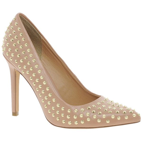 Faith Cinderella Studded Nude Court Shoes (145 BRL) ❤ liked on Polyvore featuring shoes, pumps, nude, faith shoes, pointy toe pumps, pointed toe shoes, nude court shoes and pointy toe shoes