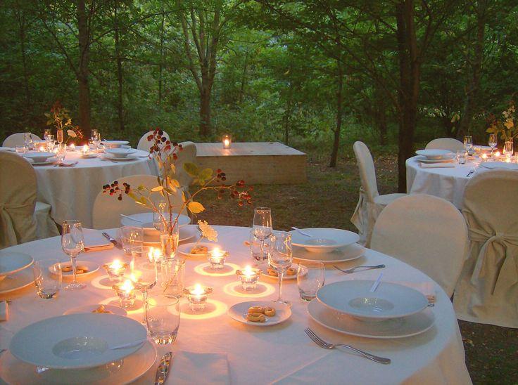 Ricevimento nel bosco. Come per magia fra il fitto della foresta appaiono i tavoli elegantemente allestiti per la cena
