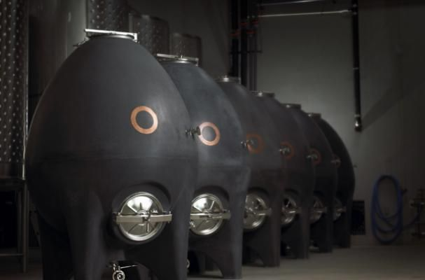British Columbia winery, Haywire,  houses wine in concrete eggs! Forget the steel and oak barrels.
