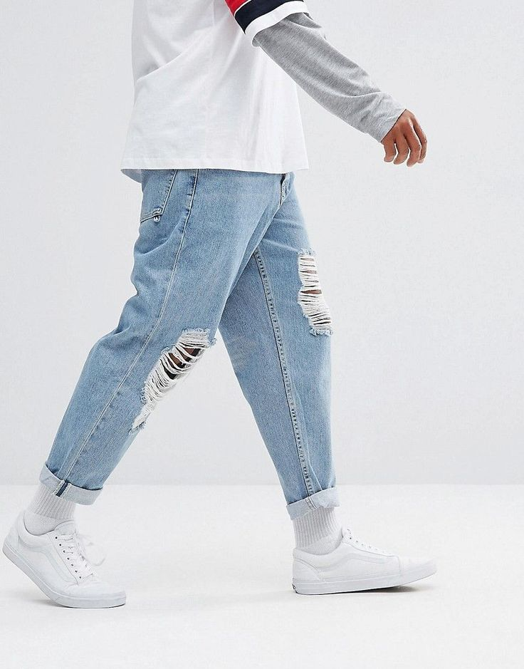 ASOS Skater Jeans In Vintage Light Wash Blue With Busted Knee Rips - B