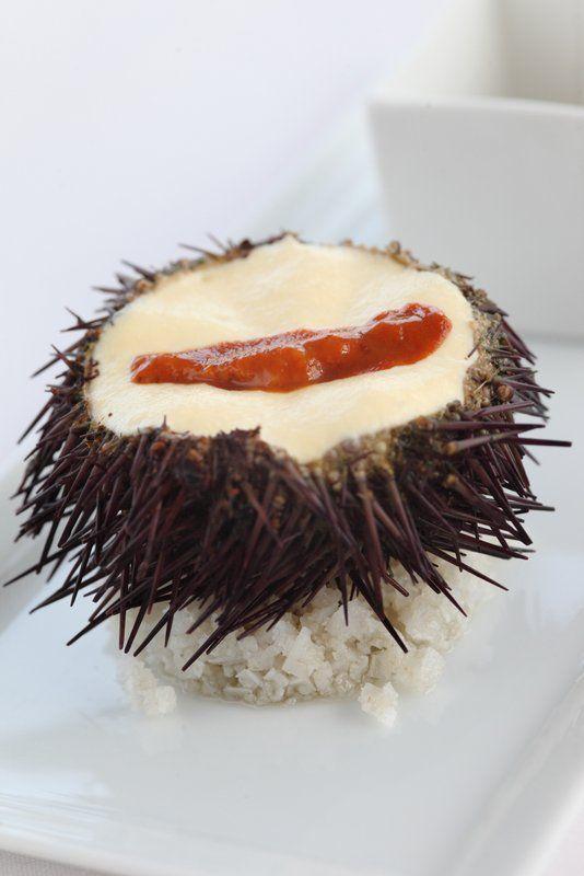OURSINS en gelée a peine prise, encornet sabayon en espuma , langue tiédie (mise en bouche) #urchin #chef #philippevetele #relaischateaux #michelin #gastronomie