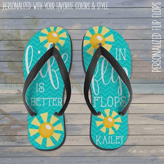 personalized flip flops - life is better in flip flops personalized custom flip flops
