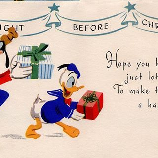 Hope you have just lots of fun to make the day a happy one! ✨….#nightbeforechristmas #disneylove #disneygeek #vintage #reto #retodisney #vintagedisney #vintagecards #vintagechristmascards #santaclaus #hohoho #disneycharacters #disneygram #instadisney #goffy #donaldduck #giftwrap #hidethepresents #wrappinggifts #giftgiving #holidaybows #holidaycheer #deckthehalls #happyholidays #peace #love