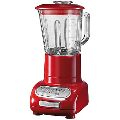 KitchenAid Artisan Blender is shiny red and features a die cast metal base.