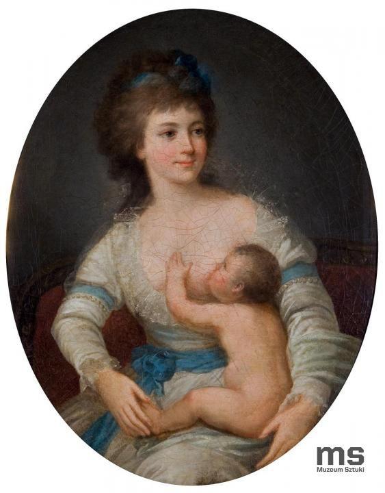 A.N., Portret Hrabiny Lubomirskiej z Dzieckiem ok. 1790 | Zbiory on-line Muzeum Sztuki w Łodzi