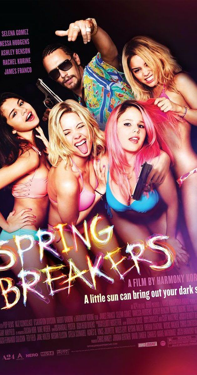 Directed by Harmony Korine.  With Vanessa Hudgens, Selena Gomez, Ashley Benson, Rachel Korine. Four college girls hold up a restaurant in order to fund their spring break vacation. While partying, drinking, and taking drugs, they are arrested, only to be bailed out by a drug and arms dealer.