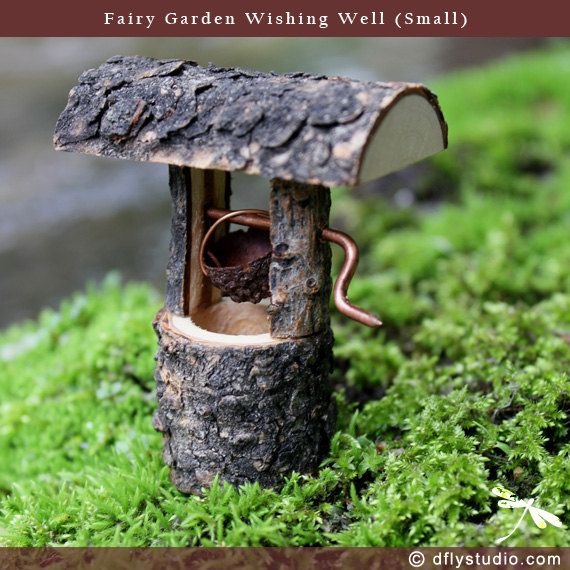 Small woodland fairy garden wishing well by DragonflyStudioArts, $12.95
