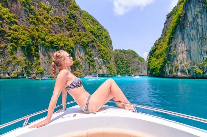 Phi Phi Islands by Speedboat from Phuket Speed away tothe Phi Phi Islands on a day trip from Phuket and escape the crowds. You'll travel with a guide byspeedboat across the Andaman Sea to the most magnificent parts of Phi Phi Don and Phi Phi Leh, including Maya Bay.A buffet lunch and round-trip transfer from your hotel are included.Your day trip from Phuket begins with a morning hotel pickup and the transferto aprivate pier located at the Phuket Boat Lagoon. On arrival at...