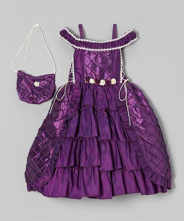 Loving this Purple Tiered Dress & Purse - Toddler & Girls on #zulily! #zulilyfinds