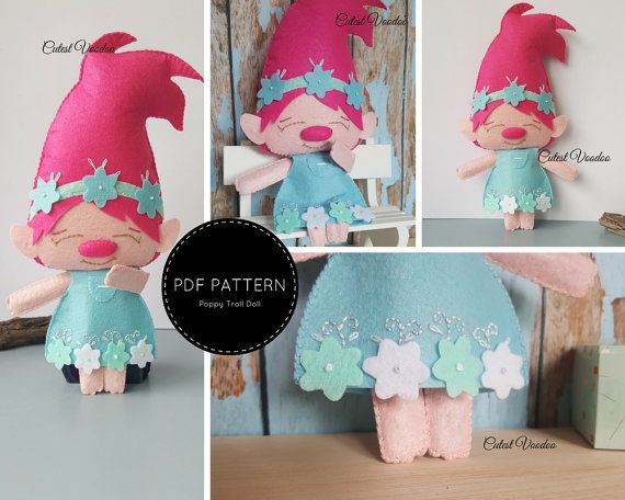 Poppy Troll Doll PDF Felt Pattern