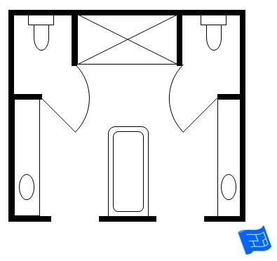 His and hers master bathroom floor plan with two toilet for Bathroom designs plan