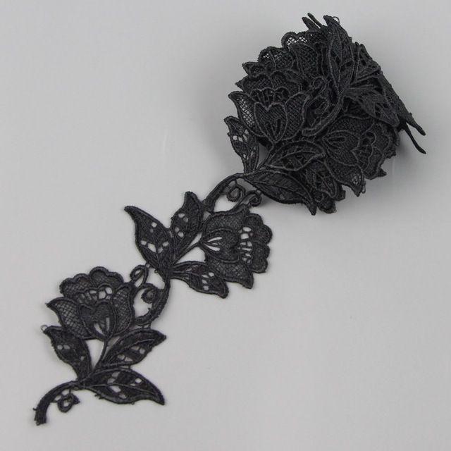 9 см 3.5 дюйм(ов) 2 ярды черная роза кружевной отделкой аппликация шнур ткани швейные аксессуары высокое качество