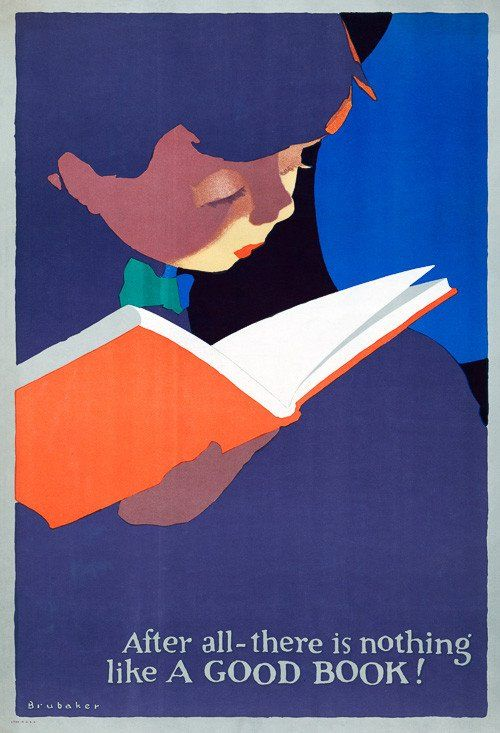 A boy concentrates on reading a book in this poster illustrated for Book Week, circa 1920s.