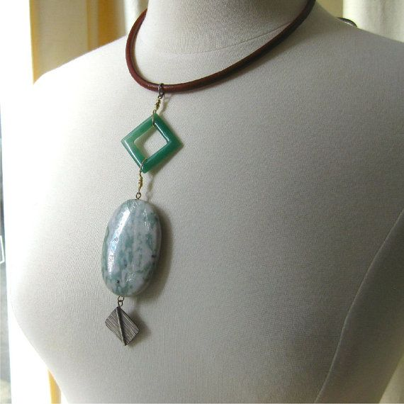 Necklace long chunky green agate peace stone by planettreasures
