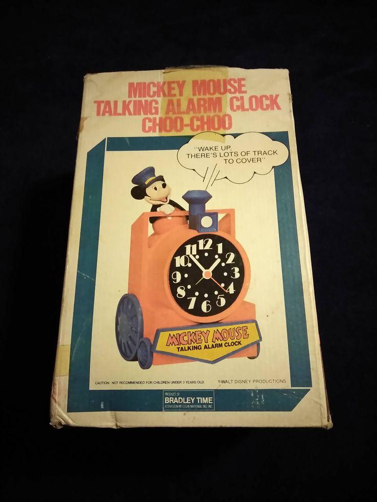 Antique Mickey Mouse Talking Alarm Clock Choo-Choo by TreasureHuntersShop on Etsy