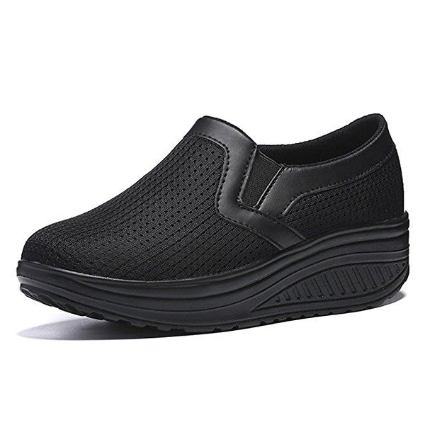 ZENGVEE Ladies Slip On Platform Trainers Womens Shape Up Shoes Walking Fitness Wedge Trainers in black size 38: Amazon.co.uk: Shoes & Bags