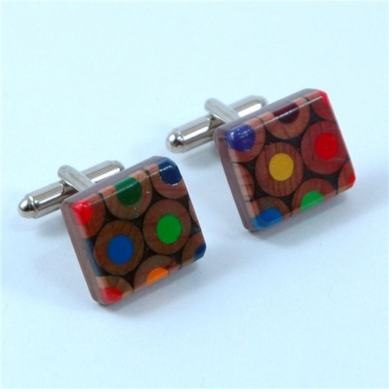 These pencil cufflinks have been made using recycled colouring pencils. We take the rejected pencils from the factory and combine them together to ...