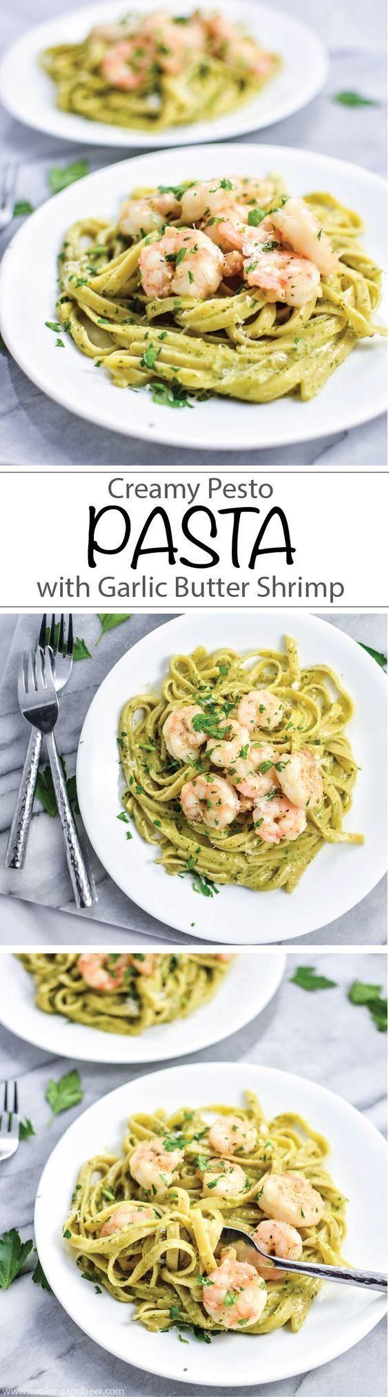 Creamy Pesto Pasta with Garlic Butter Shrimp | www.cookingandbeer.com