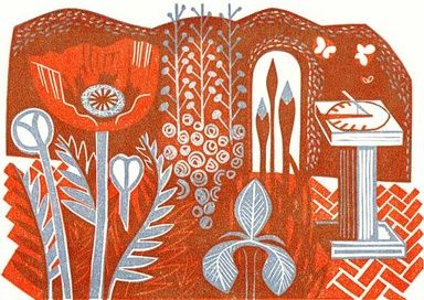 """""""The Border"""" by Clare Curtis (linocut)"""
