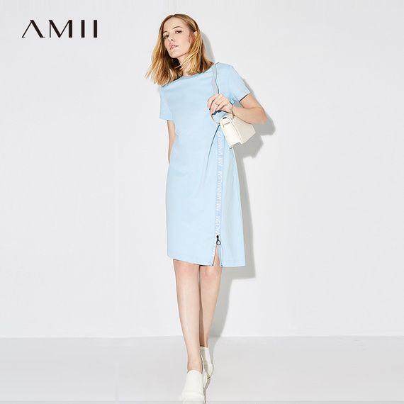 여자 아이의 AMII [미니멀리즘] 2017 여름 새로운 패션 캐주얼 느슨한면 T 셔츠 드레스 긴 섹션