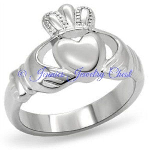 Irish Claddagh TK316 Womens Stainless Steel Ring - The Claddagh ring (Irish: fáinne Chladaigh) is a traditional Irish ring given which represents love, loyalty, and friendship (the hands represent friendship; the heart represents love; and the crown represents loyalty) (From Wikipedia) This stainless steel ladies ring is a unique way to show the special person in your life that you care. The Irish Claddagh rings design has been used as a promise ring and even a stainless steel wedding band