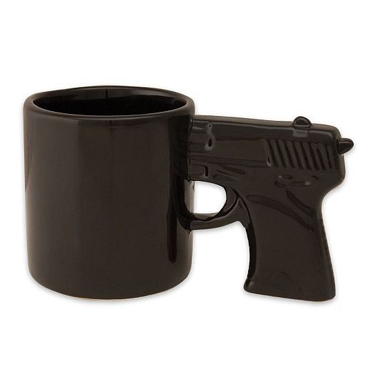 Stop or I'll shoot This gun shaped coffee mug will have you feeling like a real Dirty Harry. Makes a great gift for the person in your life that needs extra exc