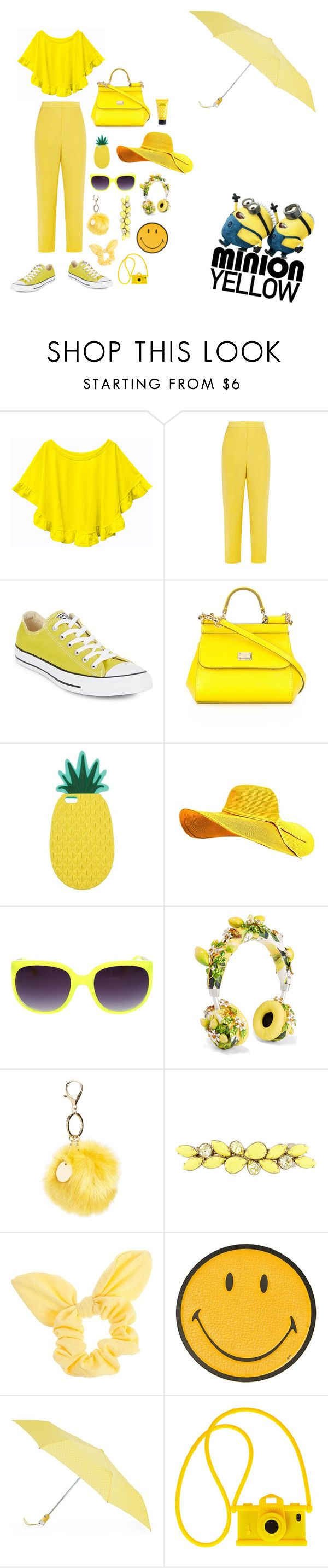 """Minion Yellow🍍😀"" by jellybean-12 ❤ liked on Polyvore featuring Issa, Converse, Dolce&Gabbana, Miss Selfridge, Topshop, Valentino, Dorothy Perkins, Anya Hindmarch, Totes and Moschino"