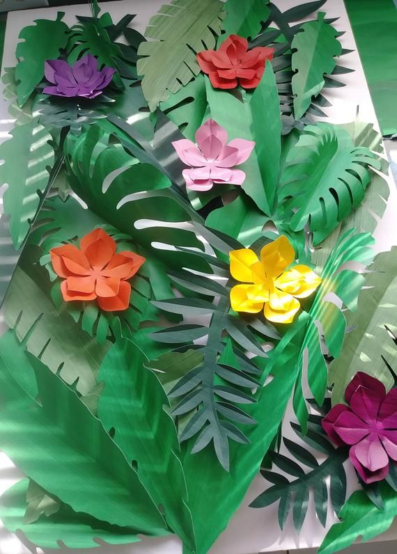 Tropical Leaves 30 Large Paper 6 Small Tropical Flowers ...