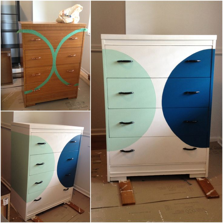 Grandma's dresser Pure white Chalk paint  Regular latex for the blue and mint.