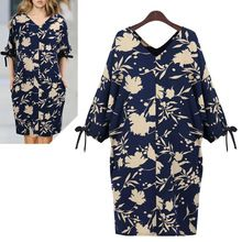 A213 XL-5XL Artı Boyutu Sıcak Satmak 2015 Yeni Yaz Moda Seksi Avrupa Tarzı Gevşek Çiçek Baskılı Batwing Retro kadın Elbiseleri(China (Mainland))