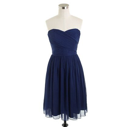 Sally Note: J Crew Bridesmaid Dresses - All same Color/Material (Dark Cove Silk Chiffon) different Styles