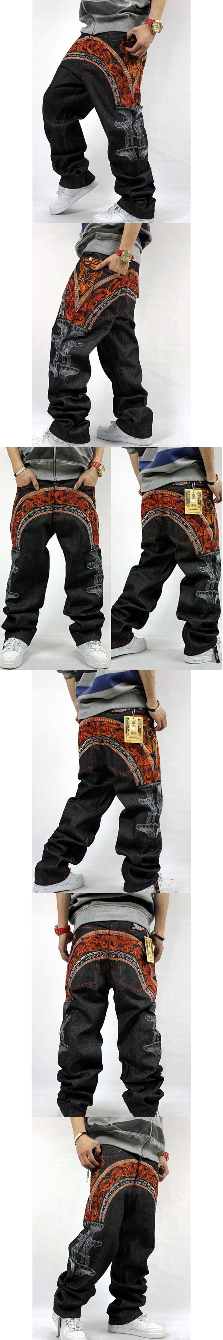 New Design Male Street Skateboard Baggy Jeans Mens Hip Hop Rock Loose Trousers Big Size Rap Pants For Rapper's Waist Size 30-42