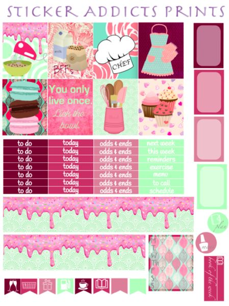 Free Fresh From the Oven Weekly Planner Kit | Sticker Addicts Anonymous