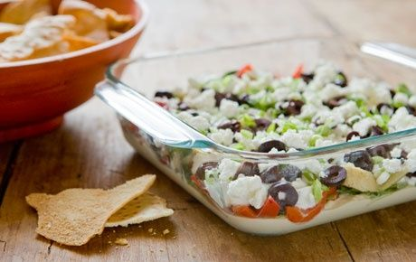 This healthy dip will be a hit at your next party. Layer it in a glass bowl or small trifle dish, if you like. To avoid the dip becoming wat...