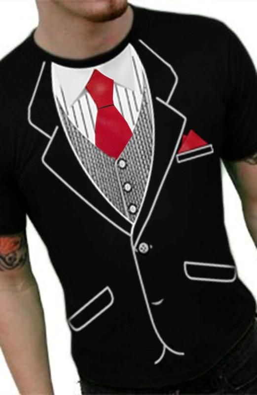 ed65bb39 Mens Classic Tuxedo T-Shirt With Red Tie in 2019 | Honeymoon ...
