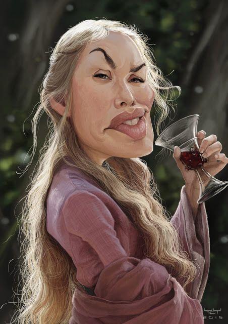 """Caricatura de la actriz británica Lena Headey, Cersei Lannister en la serie de TV """"Game of Thrones"""" realizada por el caricaturista Yoann Lori."""