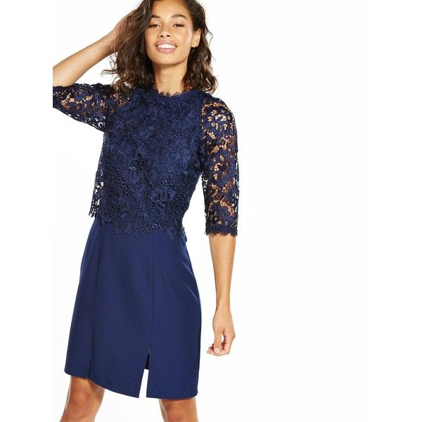 Little Mistress Petite Mini Lace Overlay Dress (545 DKK) ❤ liked on Polyvore featuring dresses, petite dresses, short sleeve cocktail dresses, a line dress, petite cocktail dress and long-sleeve mini dress