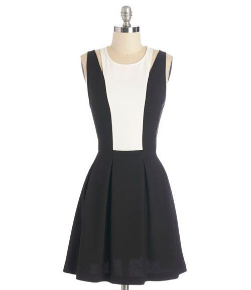 TW_5041 Short Black and White Dress
