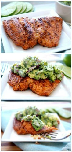 Grilled Salmon with Avocado Salsa - This recipe is good for those who adore healthy food and haven't a lot of time for cooking. The grilled salmon is well connected with avocado. Enjoy!