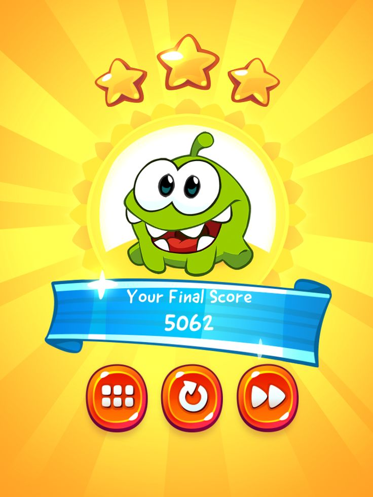 CUT the ROPE 2 | Results Screen | UI, HUD, User Interface, Game Art, GUI, iOS, Apps, Games, Grahic Desgin, Puzzle Game, Brain Games, Zeptolab | www.girlvsgui.com