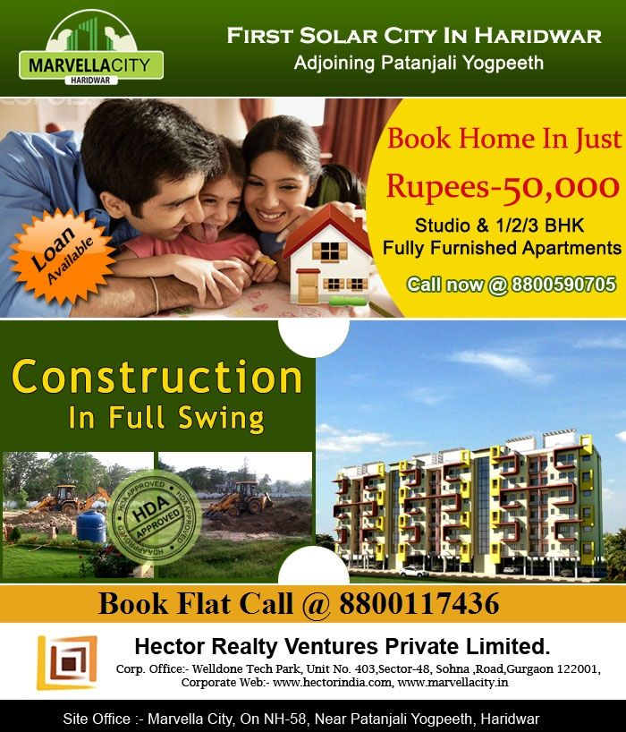 Marvella city HDA approved township in patanjali  providing 1/2/3 bhk flats.You are invited to MARVELLA CITY Solar City in Uttrakhand Providing all world Class facilities. Marvella city is a famous project spread over 35 acres of the Land. In Marvella city there are around 972 flats in a building and all of the city is build in a planned way.Alongwith all the high class facilities Marvella city is providing all this at a very nominal prize.