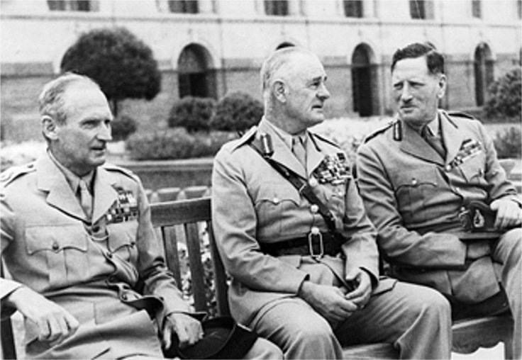 FIELD MARSHAL THE VISCOUNT MONTGOMERY OF ALAMEIN KG GCB DSO 1887-1976. Montgomery as CIGS (Chief of Imperial General Staff) designate in the Viceregal Gardens, New Delhi with the Viceroy, Field Marshal Wavell and Commander-in-Chief of the Indian Army, Field Marshal Sir Claude Auchinleck.