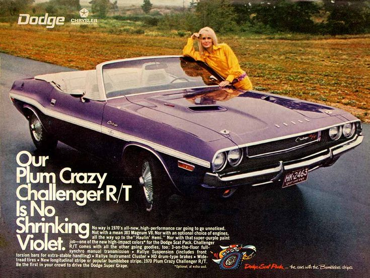 1970 Dodge Challenger Ad Our Plum Crazy R T Is No Shrinking Violet
