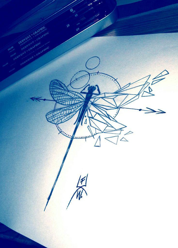 dragonfly geometric tattoo