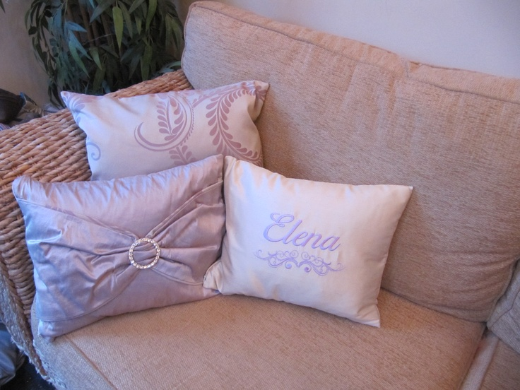 cushions made to compliment laura ashley marchmont amethyst curtains. laura ashley dupion silk in amethyst boudoir cushion with diamante trim. laura ashley dupion in linen with bespoke personalised embroidery in amethyst